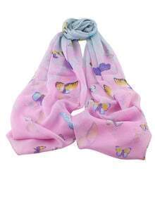 Pink Chiffon Butterfly Printed Scarf