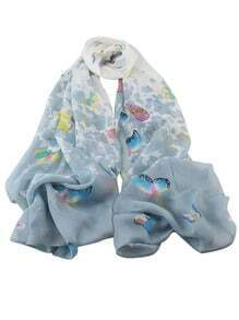 Gray Chiffon Butterfly Printed Scarf