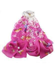 Hotpink Chiffon Butterfly Printed Scarf