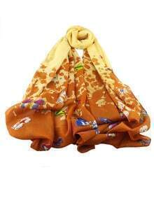 Coffee Chiffon Butterfly Printed Scarf