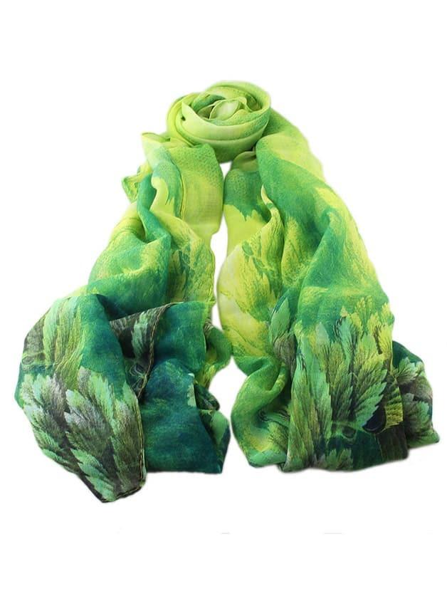 Фото Green Flower Printed Voile Scarf. Купить с доставкой