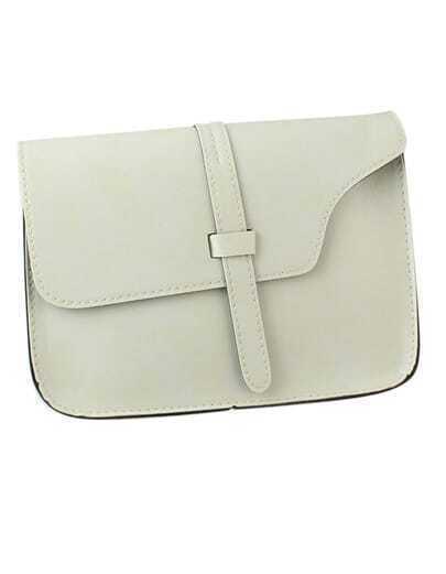White Pu Leather Straps Shoulder Bag