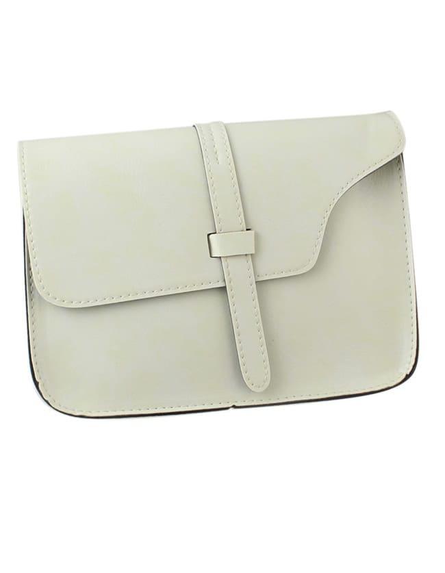 Фото White Pu Leather Straps Shoulder Bag. Купить с доставкой