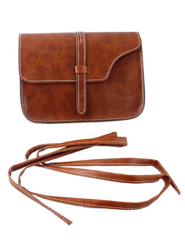 Brown Pu Leather Straps Shoulder Bag