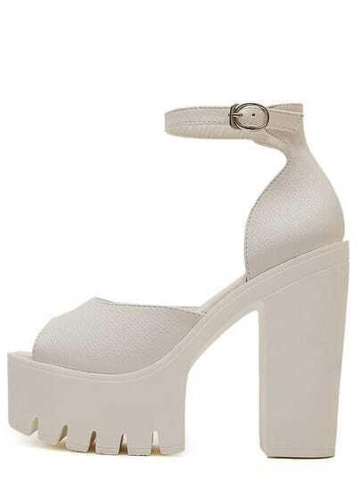 Ankle Strap Peep Toe Platform Heels - White