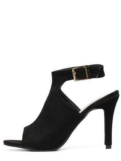 Faux Suede High Vamp Heeled Sandals