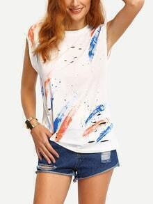 Colorful Brush Stroke Print Cutout T-Shirt