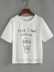 Coffee Cup Print High Low White T-shirt