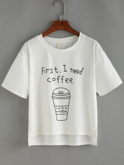 rundhals t shirt vorne kurz hinten lang mit kaffeetasse. Black Bedroom Furniture Sets. Home Design Ideas