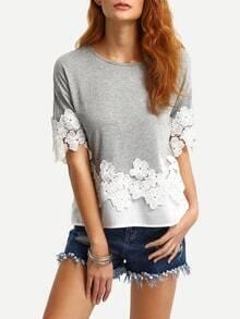 Lace & Chiffon Trimmed T-shirt