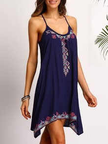 Blue Spaghetti Strap Embroidered Dress