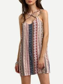 Tribal Print Crisscross Cami Dress