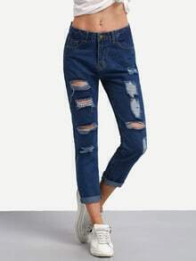 Ripped Rolled Hem Jeans