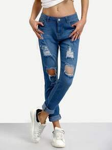 Ripped Rolled Hem Skinny Jeans