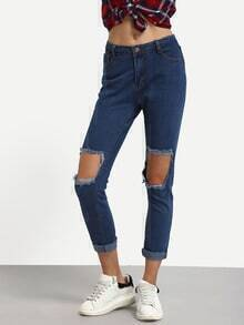 Knee Ripped Rolled Hem Skinny Jeans