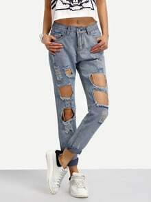 Destructed Rolled Hem Boyfriend Jeans