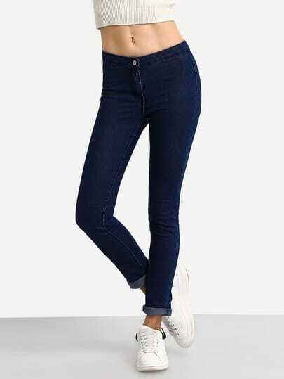 Rolled Hem Skinny Jeans