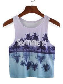 Beach Print Crop Tank Top