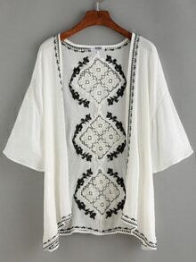 Hollow Out Crochet Back Embroidery Blouse