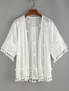 Tasel Trimed Embroidery Cover-Up Blouse