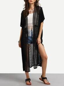 Lace Inset Slit Long Cover-Up Blouse