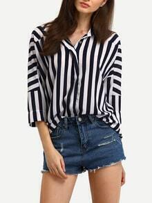 Dropped Shoulder Seam Vertical Striped Blouse