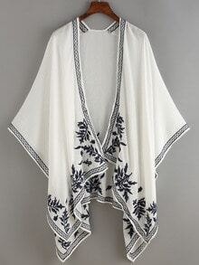 Flower Embroidered White Open-Front Kimino