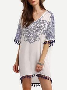 Blue And White Print Tassel Trim Dress