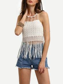 Tassel Trimmed Halter Lace-up Crochet Top