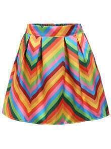 Multicolor Chevron Print A-Line Skirt