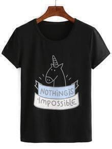 Black Cartoon Print T-shirt