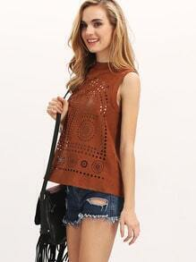 Brown Sleeveless High Neck Burn-out Tank Top