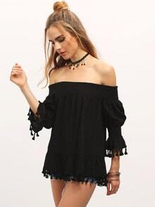 Black Fringe Trim Off The Shoulder Elasticated Sleeve Blouse