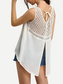 White Crochet Panel Dip Hem Split Back Blouse