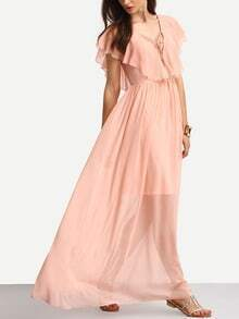 Pink Lace-up Ruffle V Back Chiffon Maxi Dress