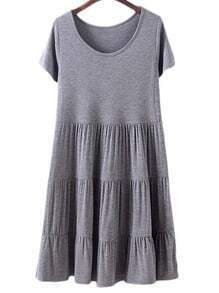 Dark Grey Round Neck Ruffle Hem Cake Dress