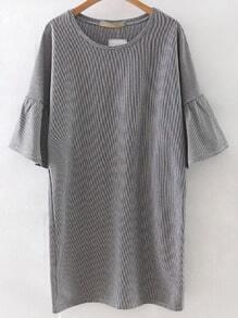 Black White Stripe Bell Sleeve Shift Dress