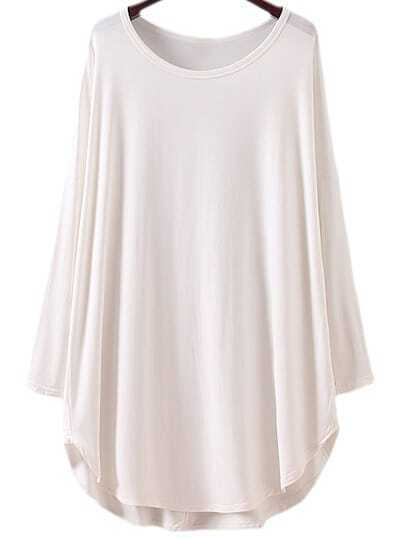 White Long Sleeve Dolphin Hem T-shirt Dress