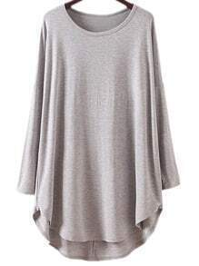 Grey Long Sleeve Dolphin Hem Casual Dress
