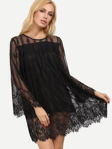 Black Bell Sleeve Embroidery Hollow Lace Dress