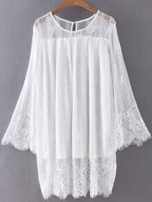 White Bell Sleeve Embroidery Hollow Lace Dress
