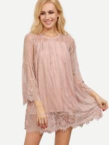 Pink Bell Sleeve Embroidery Hollow Lace Dress