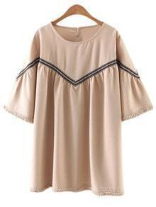 Apricot Half Sleeve Embroidery Fringed Dress