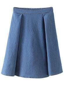 Light Blue Elastic Waist Pleated Denim Skirt