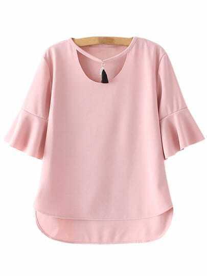 Pink Dip Hem Bell Sleeve Tassel Blouse