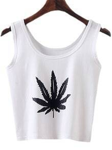 White Round Neck Leaves Print Tank Top