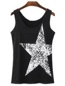 Black Round Neck Star Print Camis Top