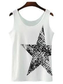 White Round Neck Star Print Camis Top