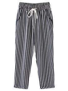Black White Tie-Waist Pockets Vertical Stripe Pants