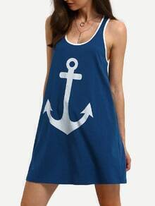 Blue Sleeveless Anchors Print Casual Shift Dress